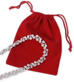 "Velveteen Drawstring Pouches, Red, 4"" x 5 1/2"", 100 Bags"