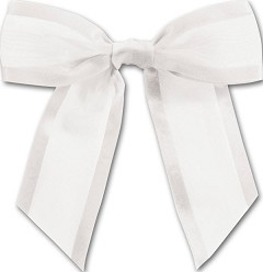 "White Pre-Tied Organza Bow, 4 1/2"" Bow Tie - 1 pack of 12 bows"