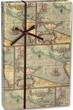 "World Map Gift Wrap 24"" x 100' - 1 Roll"
