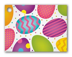 "Easter Eggs Gift Tags 3 3/4 x 2 3/4""  -  6 Tags"