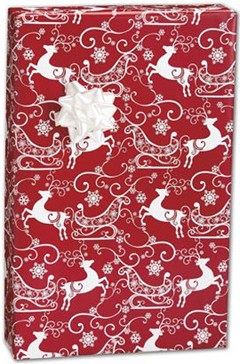 "Sleigh Ride Gift Wrap 24"" x 100' - 1 Roll"