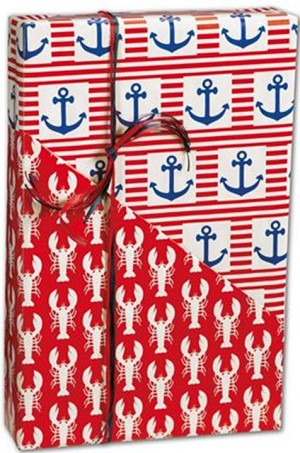 "Ship Ahoy Reversible Gift Wrap 24"" x 417'  -  1Roll"