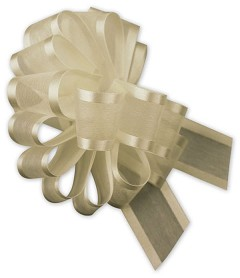 "Ivory Satin Edge Pull Bows 18 Loops 1 1/2"" Width - 12 Bows"