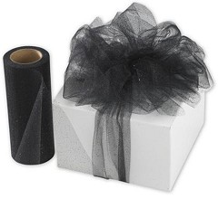 "Black Sparkle Tulle 6"" x 25 Yds  -  1 Roll"