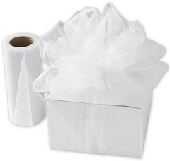 "White Sparkle Tulle 6"" x 25 Yds  -  1 Roll"